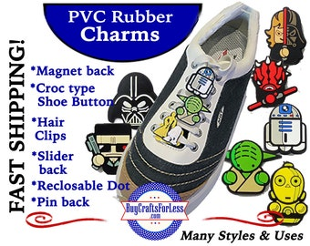 PVC Charms, THE FUTURISTs * 20% OFF Any 4 PvC Charms+ShipFREE *Choose back-Button, Pin, Slider, Hair Clip, Reclosable Dot, Magnet