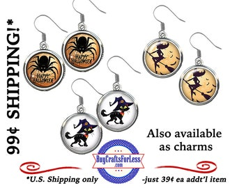 NeW CUTE HALLOWEEN 18mm EARRINGs, or CHARMs Spider, Scary Cat, Witch -SUPER CuTE! +99cent Shipping