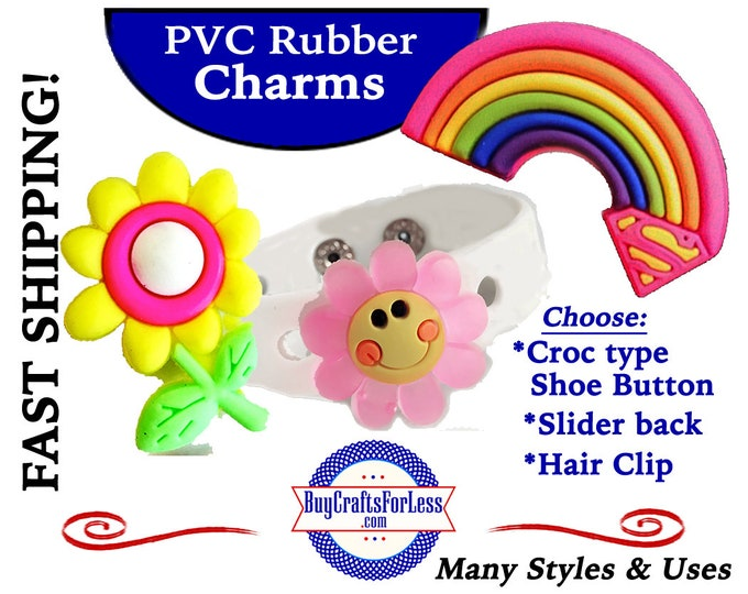 PVC Charms, RAiNBOWS & SUNSHiNE! Croc-Style Shoe Charms* 20% OFF Any 4 PvC Charms+ShipFREE *Choose back-Button, Slider or Hair Clip