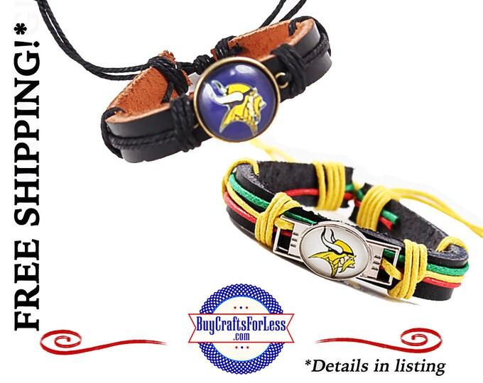 MiNNESOTA FOOTBaLL LEATHER BRACELETs, Football GiFT - 2 STYLES! Adjustable +FREE SHiPPING & DiSCOUNTS