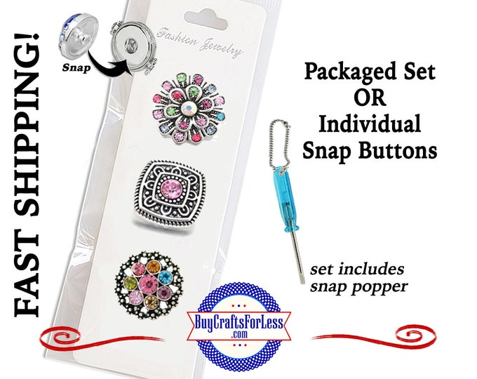 SNAP METAL 18mm Rhinestone Snap Buttons, Package of 3 or Individual INTERCHaNGABLE Buttons +99cent Shipping- 39cents for addt'l items