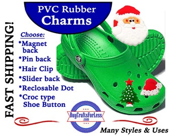 PVC Charms, CHRISTMAS *Choose back-Button, Hair Clip, Magnet- 99cent shipping - 39cents ea addt'l