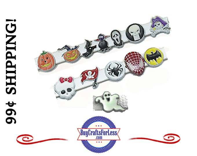 HALLOWEEN SLiDE 8mm Charms,PiRATES,GHoSTS, more - for 8mm Slider Bracelets, Collars, Key Rings, Hair Clips, 13 Styles! +99cent Shipping