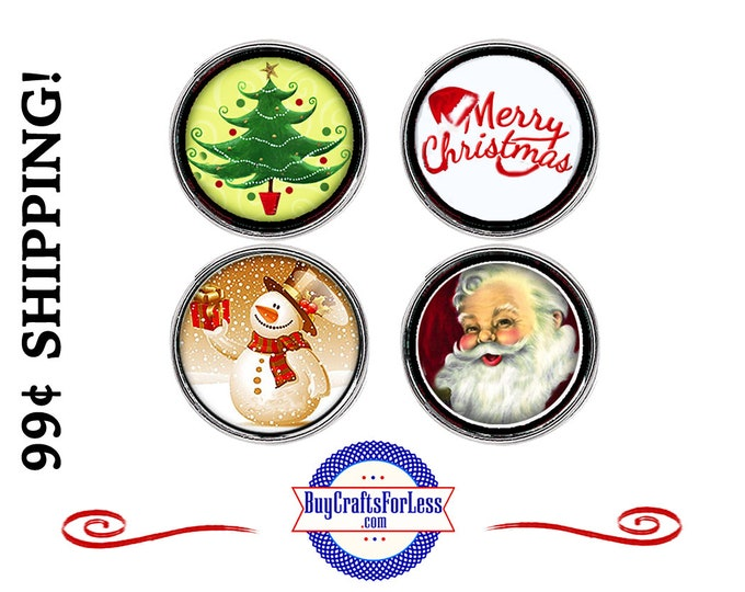 SNAP CHRiSTMAS ASST'd BUTTONs, CUTE for HOLIDAYs -18mm INTERCHaNGABLE Buttons, 4 NeW Styles +99cent