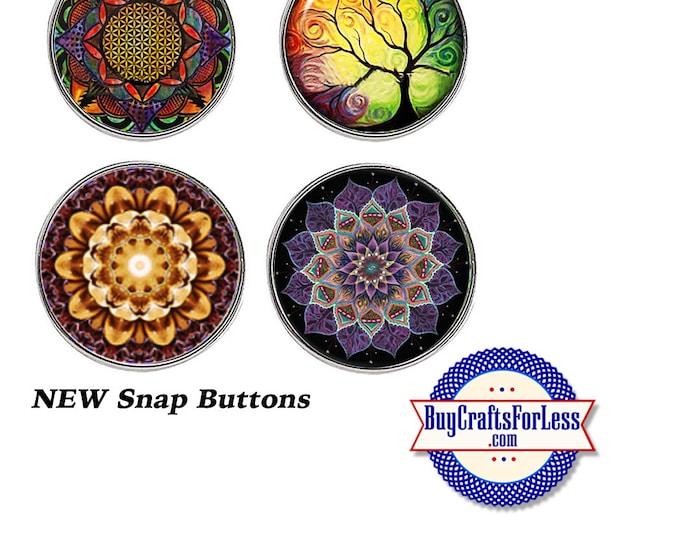SNAP MANDALA Buttons, 18mm INTERCHaNGABLE Buttons, 4 NeW designs +99cent Shipping - 39cent ea addt'l item