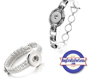 SNAP Button Bracelets, for Changeable 18mm Snap Buttons, 2 NEW styles  +FREE Shipping & Discounts