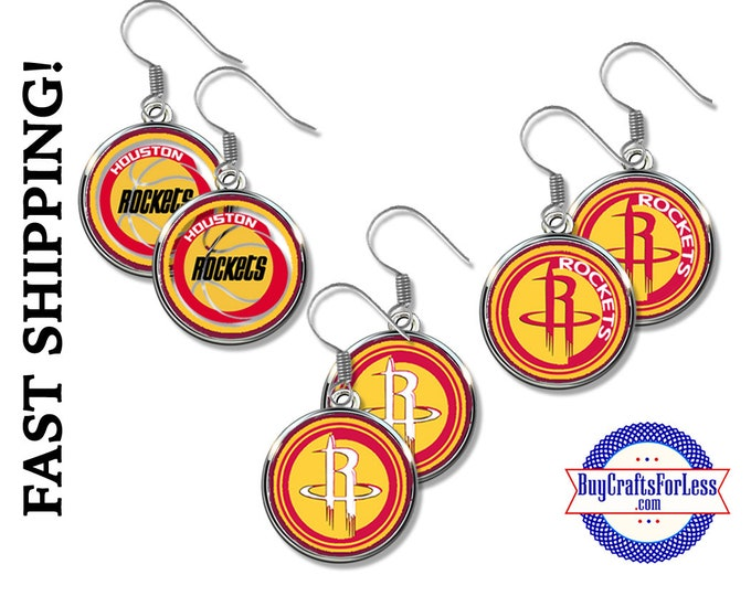 HOUSTON Basketball EARRiNGS,Basketball GiFT, CHooSE from 3 Designs - Super CUTE!  +99cent SHiPPiNG