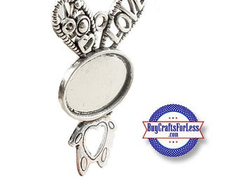 RABBiT, Pendant, iNCL. OVaL GLaSS +99cent SHiPPING & DiSCOUNTS*