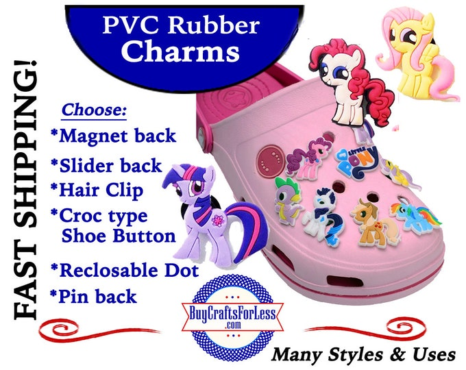 20% off *SALE* PVC Charms, The Ponies *Choose back-Button, Hair Clip, Magnet -99cent shipping - 39cents ea addf'l item