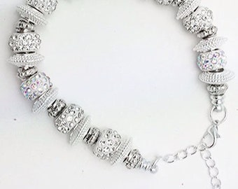 Beautiful BRACELET - Crystal and Silver Plated BEAD Bracelet +FREE SHiPPiNG & Discounts*