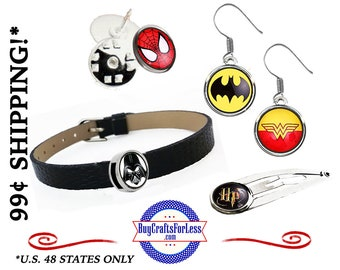 12mm CABOCHONs - FREE SUPERHEROs DESiGN -Choose Slider, Hair Clip, Hair Band, Pin, Charms, Earrings *+99cent SHIPPING