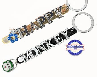 HAPPY or MONKEY Key Ring, 4 Colors, 8mm Slide Letters from BuyCraftsForLess +FREE Shipping & Discounts*