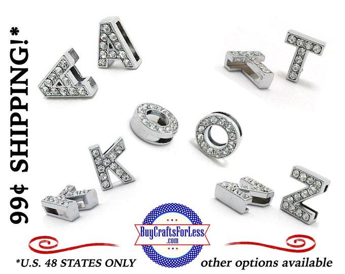 FULL A-Z Rhinestone Silver SLIDE LETTERs for 8mm BRACELETs, COLLARs, CHOKERs, PENDANTs, KEY RINGs, EARRINGs +99cent Shipping & Discounts*