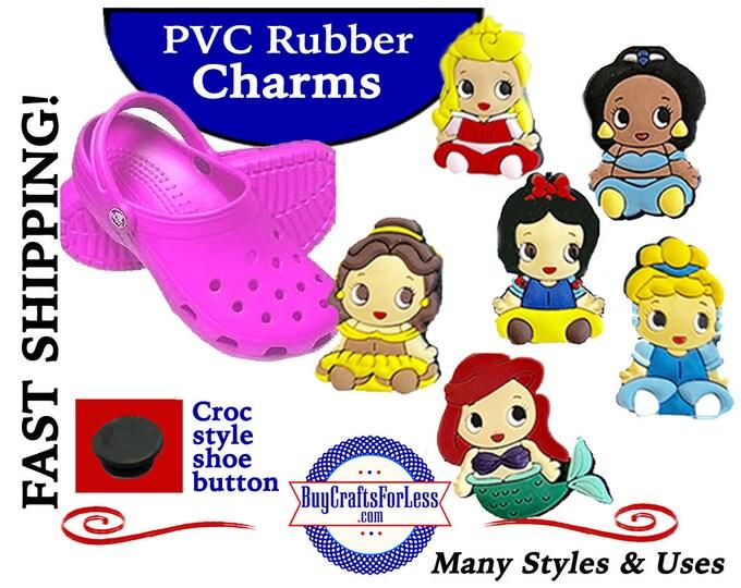 SET of 6-PVC Charms, Princess, 6 SHoE CHaRMS, Beautiful Princesses +FREE SHiPPING
