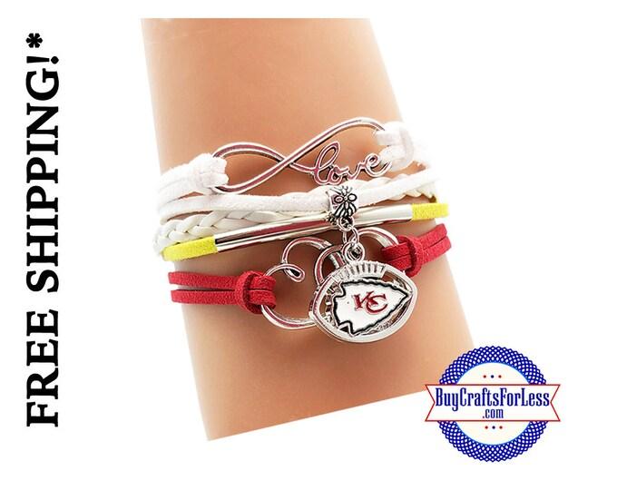 KANSAS CiTY Football CHaRM BRACeLET, Football GiFT +FREE SHiPPiNG & Discounts*