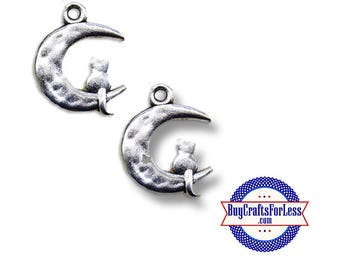 KITTY on the MOON Charms, silver alloy, 4, 8, 12, 24 pcs  +FREE SHiPPiNG & Discounts*