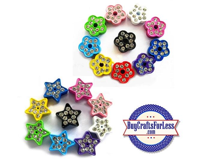 8mm Slide FLOWERS or STARS With Rhinestones for 8mm Slider Bracelets, Collars, Key Rings, 4 pcs/pk +99cent & Discounts*
