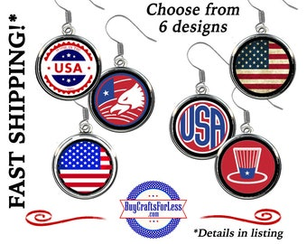 USA EARRINGS, Celebrate USA CHooSE from 6 HANDmade Designs - Super FuN - BeST SeLLER!  +FReE SHiPPiNG and Discounts*