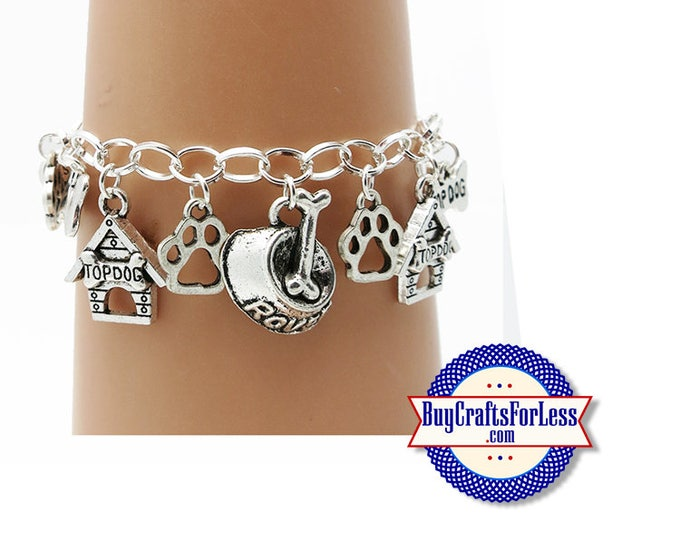 """DOG Charm BRACELET, Silver Plated, 7""""-8"""" +FREE SHiPPiNG & Discounts*"""