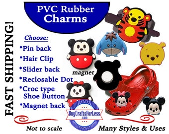 PVC Charms, Fat MOuSE,CARTooN CHARACTERS * 20% OFF 4 PvC Charms+ShipFREE *Choose back-Button, Pin, Slider, Hair Clip, Reclosable Dot, Magnet