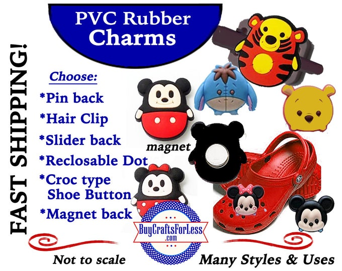 20% off *SALE* PVC Charms, Fat MOuSE,CARTooN CHARACTERS *Choose back-Button, Hair Clip, Magnet- 99cent shipping - 39cents ea addt'l