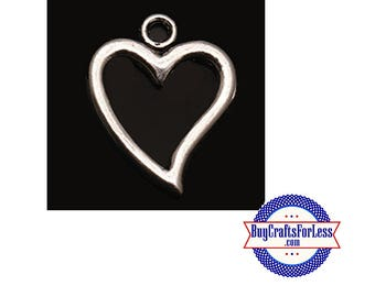 Open Heart Charms, 8 pcs  +FREE Shipping & Discounts**