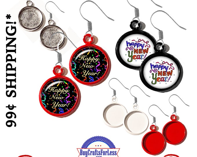 Featured listing image: HAPPY NEW YEARs DaNGLE EARRINGs! Very FuN - Choose from 2 DESIGNs, 4 colors -See ALL Photos -99cent Shipping-39cents ea addt'l item