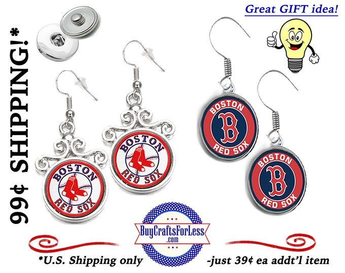 BOSTON Baseball Interchangeable SNAP Button EARRiNGS, CHooSE Design - Super CUTE! +99cent Shipping