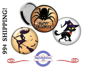 NeW HALLOWEEN 12mm SLiDER CHARMs, Spider, Scary Cat, Witch for 8mm bracelets, key rings, collars, chokers, more-SUPER CUTE! +99cent Shipping