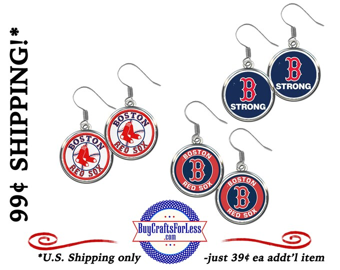 RED SOX Baseball EARRiNGS or CHaRM, CHooSE Design - Super CUTE! +99cent Shipping