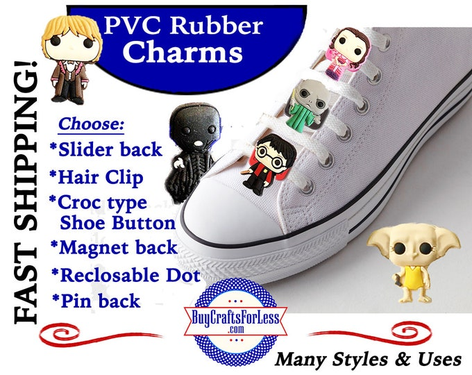 20% off *SALE* -PVC Charms, the Potter Gang *Choose back-Button, Hair Clip, Magnet- 99cent shipping - 39cents ea addt'l