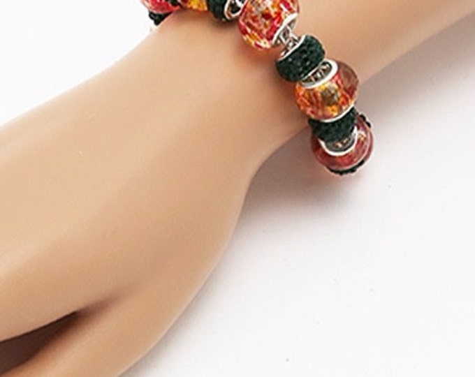 Glass Bead FALL Bracelet with GLASS crystals  **FREE SHiPPiNG**