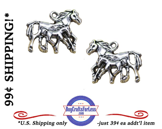 HORSES, Filly and Foal Charm, 2 pcs-Very Cute for Bracelet, Earrings or Pendant +FREE SHiPPiNG +Discounts*