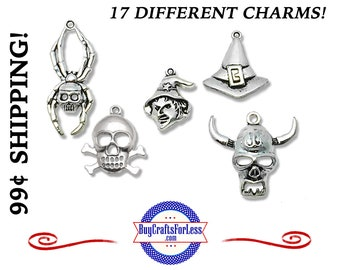 HALLOWEEN Charms, Choose from 17 Different Charms in SEVERAL Sizes! +99cent Shipping