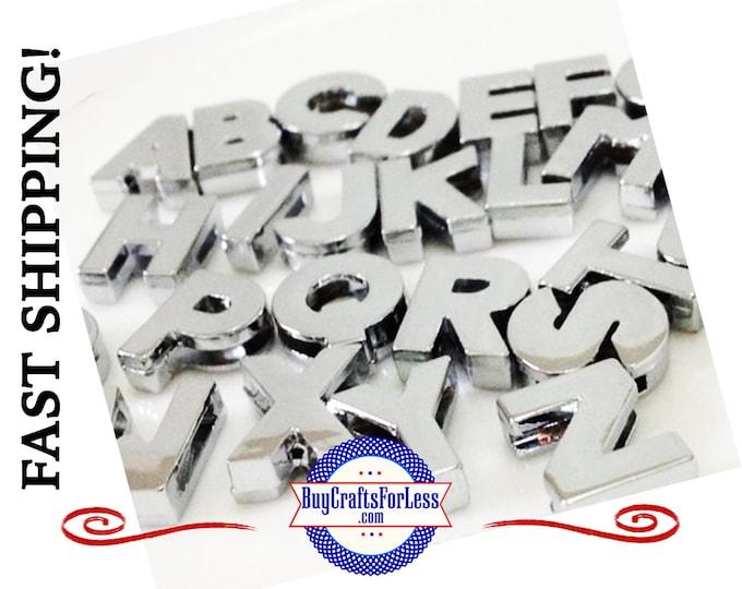99cent Shipping* ~ PLAiN Silver Slider 8mm LETTERS Bracelets, Key Rings, Pendants, Pet Collars or Chokers +49cent ea addt'l item & DISCOUNTS