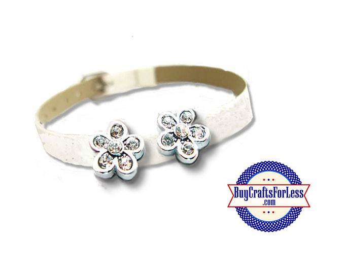 Rhinestone FLOWER for 8mm SLIDE Bracelets, Collars, Chokers, Key Rings, Napkin Rings +FREE ShiPPing & Discounts*