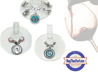 MIAMI Wine or Bottle Charms, Napkin Rings, Set of 6, U Choose Style +FREE SHIPPING & Discounts*