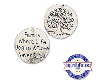 "FAMILY Charms, ""Family Where Life Begins"", 1, 4, 8, 12 pcs +FREE SHiPPing & Discounts*"