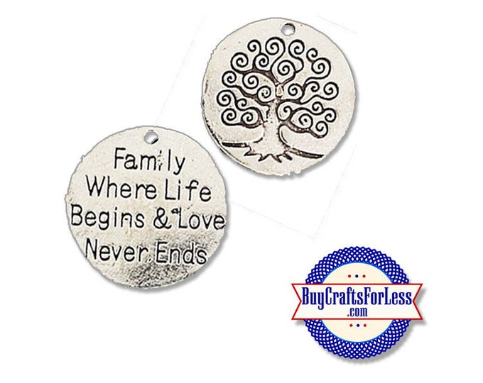 """FAMILY Charms, """"Family Where Life Begins"""", 1, 4, 8, 12 pcs +FREE SHiPPing & Discounts*"""