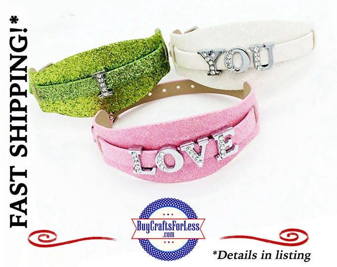 DoUBLE GLiTTER BRACELET for 8mm Slider Letters and Charms, choose from 9 Colors +FREE Shipping & Discounts*