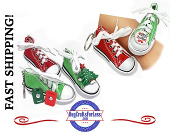 Canvas CHRiSTMAS SNEAKER KeY RiNG, Your Choice of Color PLUS Cabochon or PVC Charm  +1.99 Shipping & Tracking,Discounts*