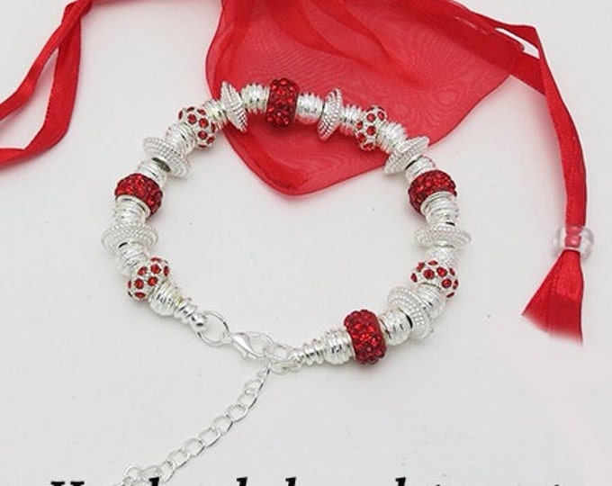 Holiday BRACELET with Silver & Crystal Beads **FREE SHIPPING**