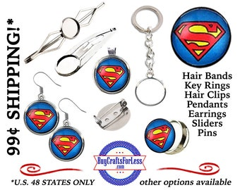 CABOCHONs - FREE SUPERHEROs DESiGN -Choose Pin, Slider, Hair Clip, Hair Bands, Pendant, Key Ring, Earrings *+99cent SHIPPING