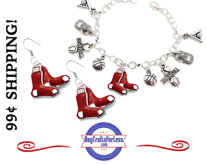 RED SOX Baseball EARRINGs, BRACELeT or CHARMs - Super CUTE!  +99cent SHiPPiNG