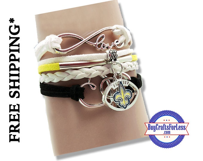 NeW ORLEANS Football CHaRM BRACeLET, Football gift +FREE SHiPPiNG & Discounts*