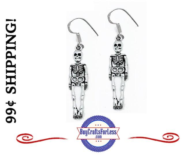 CLeRANCE ** HALLOWEEN SKELEToN Earrings, Super FUN +99cent Shipping