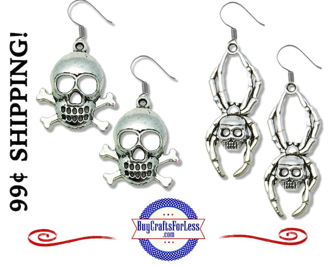 SPiDER or PiRATE SKULL and CRoSS BONEs EARRINGs - A  FAVORiTE! +99cent SHIPPING