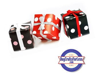 "Square 2"" Dot GiFT BOX or PARTY FAVoRS with Tissue +FREE SHiPPiNG & Discounts*"