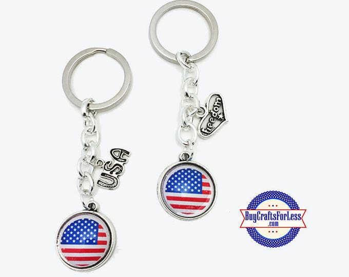 PATRiOTiC, July 4th, USA Flag KEY RiNG +FREE SHiPPiNG & Discounts*