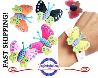 PVC Charms, the BUTTERFLIES * 20% OFF Any 4 PvC Charms+ShipFREE *Choose back-Button, Pin, Slider, Hair Clip, Reclosable Dot, Magnet